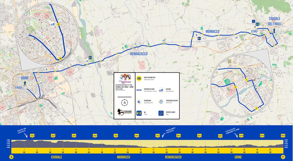 Percorso Maratonina di Udine 2017